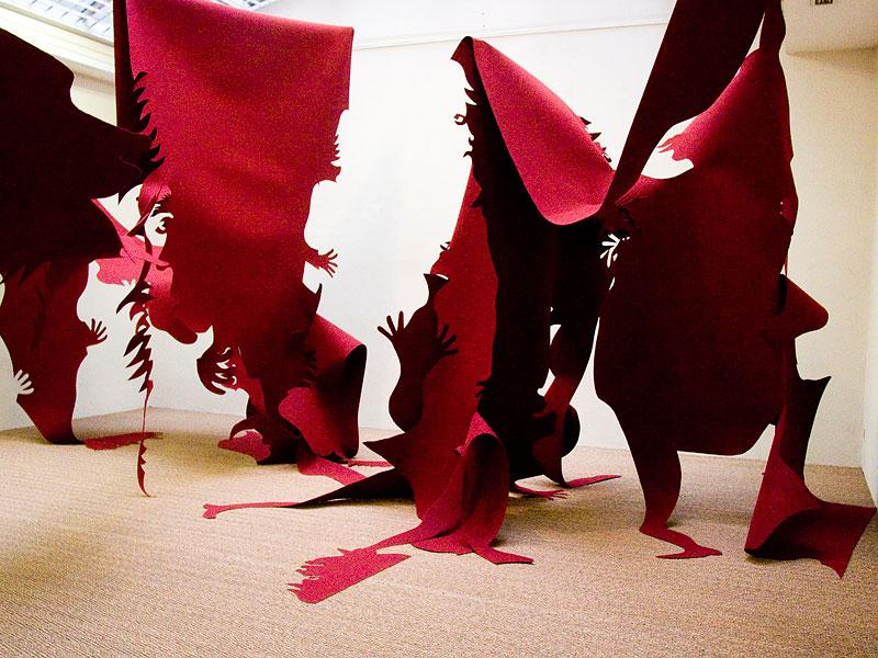 Julien Gardair Moquette felt cutout installation 2004 galerie jean fournier