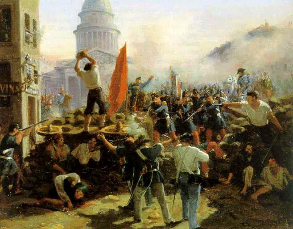 Barricade dans la rue de Soufflot, à Paris, le 25 juin 1848 (vers 1848-1849), Berlin, musée historique allemand